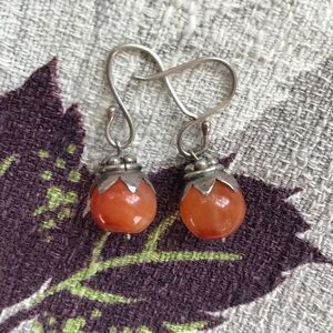 Jewelry - Vintage Carnelian Sterling Drop Earrings